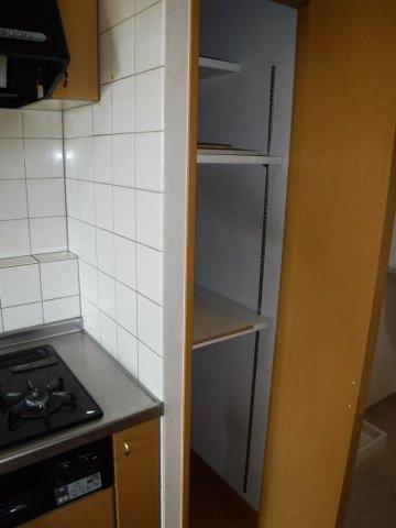 キッチンにはパントリー変わりの収納を完備