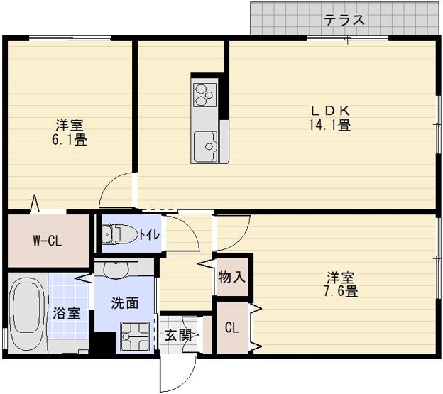 Harmony cort ハーモニーコート(柏原市平野1丁目) 2LDK