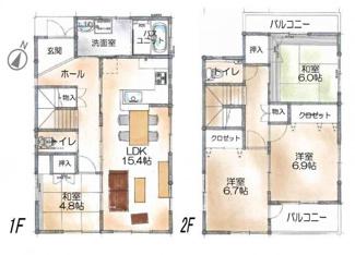 各居室がゆとりのある4LDKタイプの間取です。
