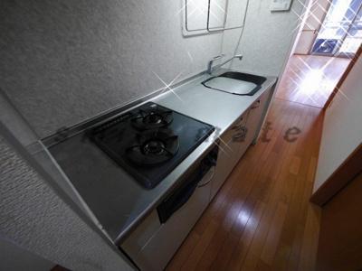 お料理楽々システムキッチン・ガスコンロ2口です。