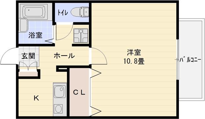 ソレアードⅠ(柏原市国分本町) バストイレ別 1K