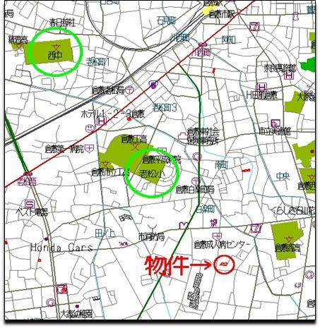 【地図】白楽町 3区画 分譲地