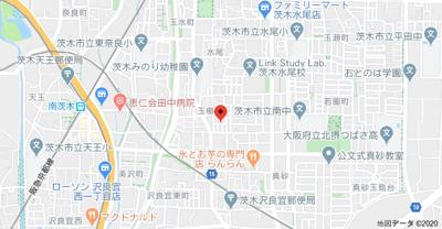 【地図】玉櫛テラスハウス4戸1 スモッティー阪急茨木店