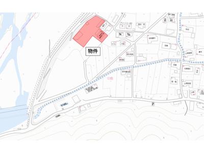【地図】津山市中島 事務所・駐車場 800坪