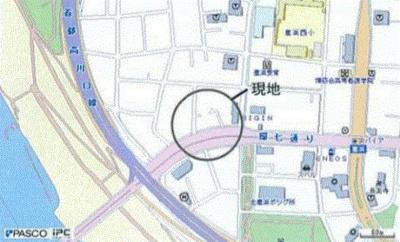 【地図】足立区鹿浜 環七通り沿い準工業地域角地空室ビル