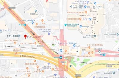 【地図】プレサンス野田阪神駅前ザ・ファースト