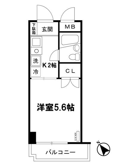 キッチン2帖・洋室5.6帖の1Kタイプのお部屋です☆はじめての一人暮らしの方や学生さんにもオススメ!