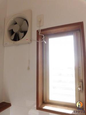キッチンにはファンと窓があります