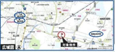 【地図】県道藤沢鎌倉線沿い工業地域の売地(更地)