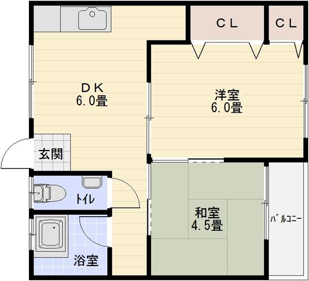 大清リバーサイドハイツ 2DK セパレート 駅近
