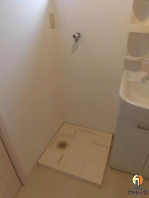 防水パン付き室内洗濯機置き場です