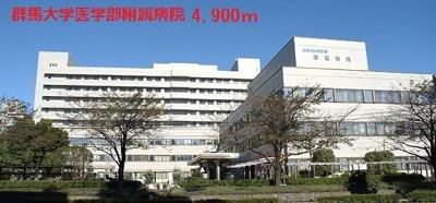 群馬大学医学部附属病院まで4900m