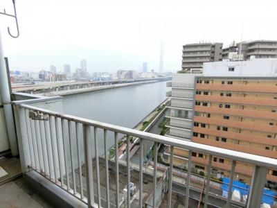 スカイツリーと隅田川が望めます