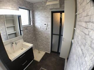 【施工例】洗面室 洗面脱衣所はお洗濯や身支度しやすい広さ!