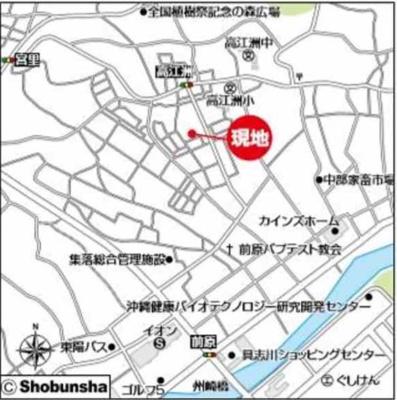 【地図】うるま市高江洲Ⅱ 1号棟