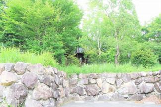 大きな石垣積みの外構が目を引きます。これだけでもかなりお金かかっちゃってますw 前面道路未舗装!!別荘地では一般的なのです(笑)