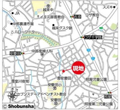 【地図】沖縄市照屋 新築戸建て 1号棟