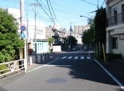 渋谷区松濤のスッキリとした前面道路