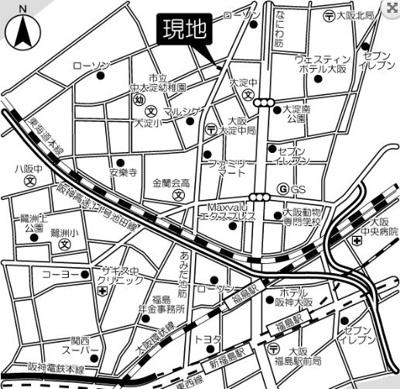 【地図】サクラティアラ新梅田