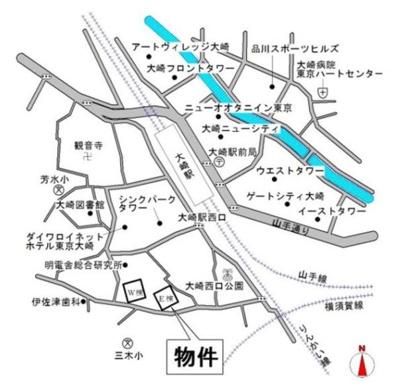 【地図】大崎ウエストシティタワーズ