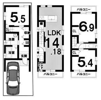 建物参考プラン延床面積:78.53平米