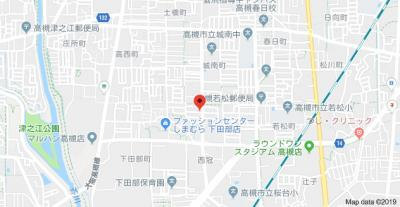 【地図】西冠1丁目貸家 スモッティ―阪急高槻店