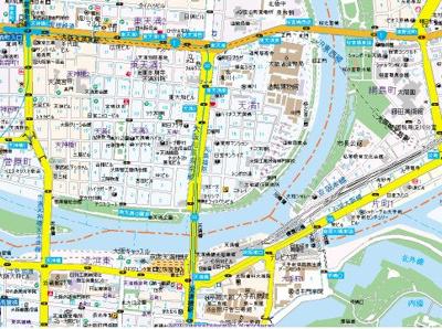 【地図】パークリュクス大阪天満
