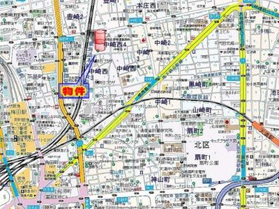 【地図】グレイスフル中崎II