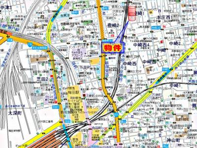 【地図】シャルム北梅田