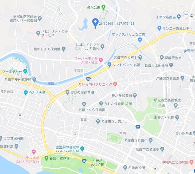 【地図】名護市字為又湯比井原 土地
