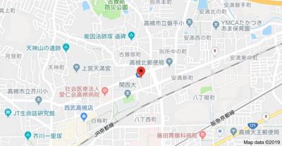 【地図】高槻スカイハイツ