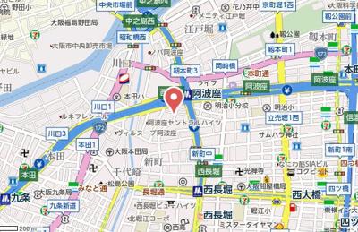 【地図】レインボーコート立売堀