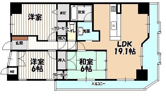 3LDKの間取り、最上階、角部屋、日当たり良好です 既存住宅売買瑕疵保険加入可能