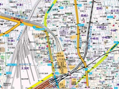 【地図】パークアクシス梅田