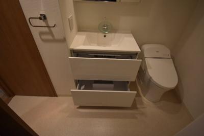 収納充実した独立洗面台です