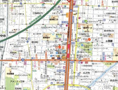 【地図】ファーストフィオーレ江坂江の木町パークサイドⅡ