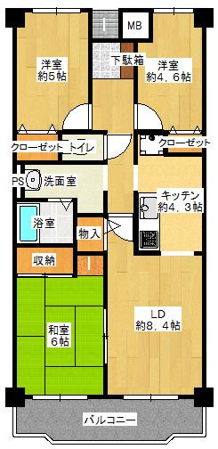 3LDK、価格1280万円、専有面積65.82m2、バルコニー面積7.49m2