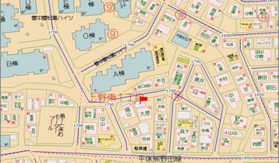 【地図】豊中市上野東1丁目土地