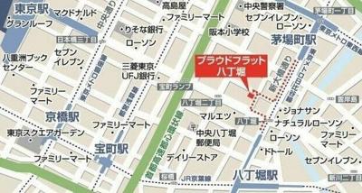 【地図】プラウドフラット八丁堀