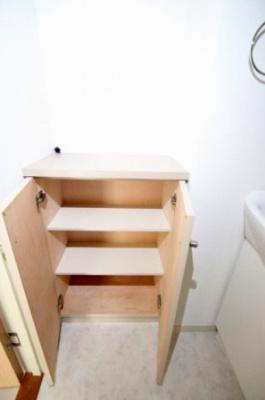 洗面台の横にある収納です。 ストックやタオル等を収納するのに便利な収納ですね♪棚には着替えや洗濯物を入れておけば家事動線もよいですね♪