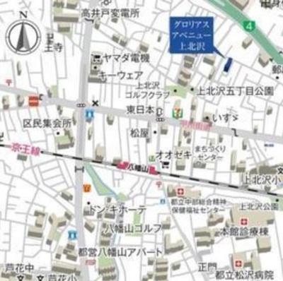 【地図】グロリアスアベニュー上北沢