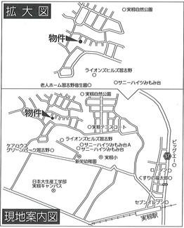 【地図】三山 古アパート付き土地