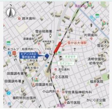 【地図】ビアンコネロ雪谷大塚
