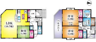 ■3LDK+ロフト 建物面積:96.05㎡ 土地面積:105.00㎡  <草加市花栗4丁目 中古戸建>