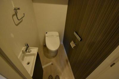手洗い場がついた高級感あるトイレです。