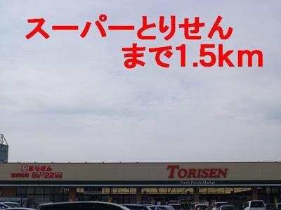 スーパーとりせんまで1500m