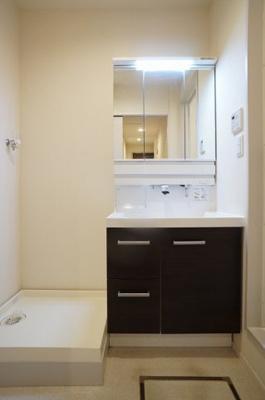 独立洗面所内の洗髪洗面化粧台及び洗濯機置場です