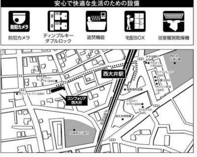 【地図】コンフォリア西大井
