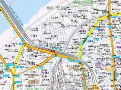 【地図】リュクス中津Ⅱ