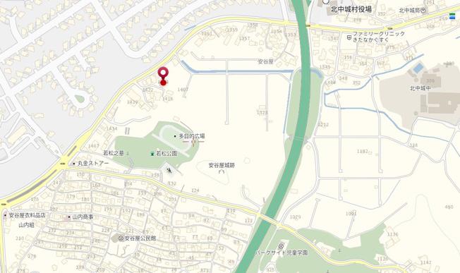 【地図】北中城村字安谷屋 上物付土地